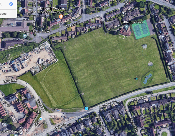 Aerial view of the existing Prestbury playing fields