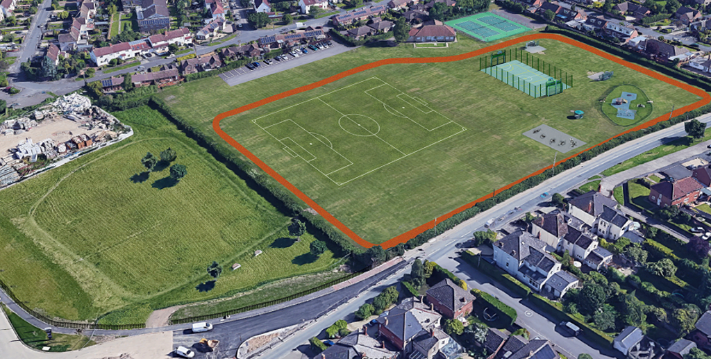 Aerial view proposed playing fields