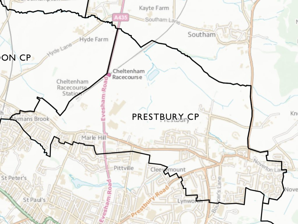Prestbury Parish - boundaries map